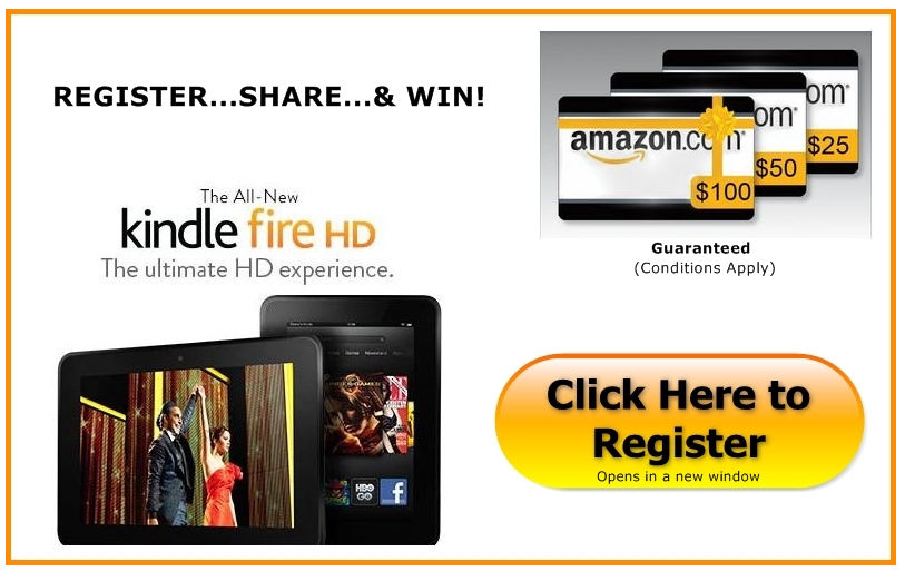 Register Share & Win Amazon Kindle HD Fire 16GB